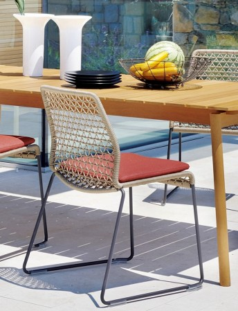 Chaise de salon de jardin pour le repas en extérieur VELA corde nautique tressée