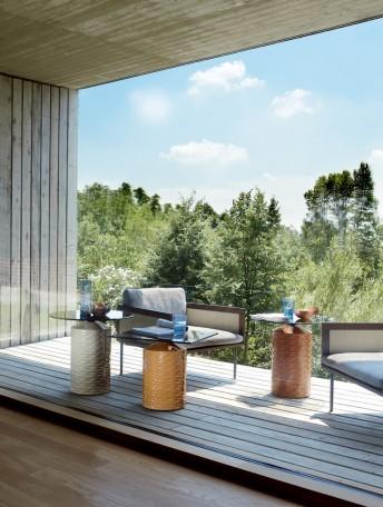 HISHI table basse extérieur en céramique et verre ronde ou carré