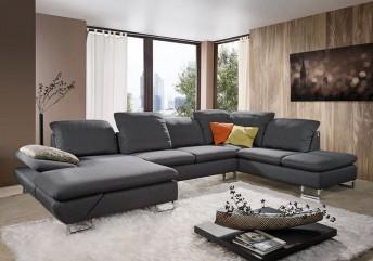 Canapé d'angle convertible 5 places en U, cuir ou tissu LINEFLEX