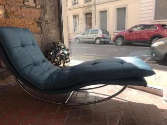 Chaise longue en cuir bleu océan SWING-SWING