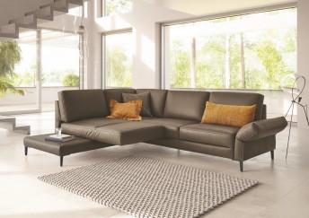 Canapé d'angle 4 places BRADY.SWING assise pivotante en cuir ou tissu