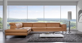 Canapé angle 5 places design appuis-tête intègrés BJBent