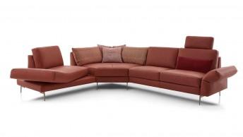 Canapé d'angle trapézoïdal 4 places BRADY.SWING assise pivotante en cuir ou tissu