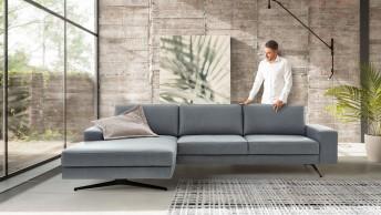 Canapé d'angle cubique 4 places BRADY.SWING chaise longue cuir ou tissu