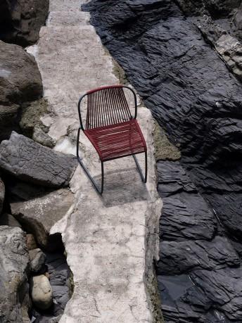 Chaise extérieur TIBES design en corde tressée nautique rouge ou naturel