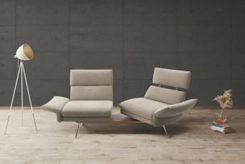 Canapé 2,5 places FARROW.TM.SWING assises pivotantes & dossiers réglables, cuir ou tissu