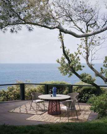 SOPHIE table ronde extérieur en pierre naturelle gris clair 140 cm et corde tressée POTOCCO