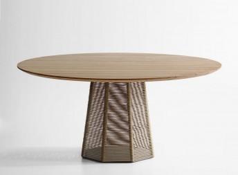 SOPHIE table ronde extérieur en frêne 160 cm et corde tressée POTOCCO