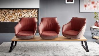 Banquette design LOOPER assises pivotantes en cuir ou tissu ou bi matière