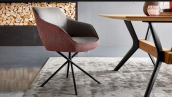 Chaise à accoudoirs LOOPER assise fixe ou pivotante en cuir ou tissu ou bi matière