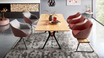 Grande table à manger rectangulaire bicolore MANT 220x100 cm, hêtre, chêne ou noyer