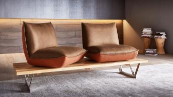 Banquette design SWINGY assises pivotantes en cuir ou tissu ou bi matière