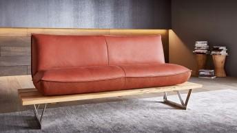 Banquette design 2 places SWINGY assise mobile en cuir ou tissu ou bi matière
