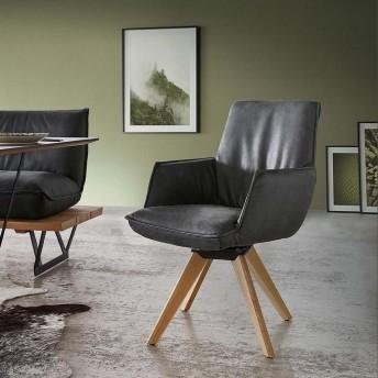 Chaise à accoudoirs SWINGY assise fixe ou pivotante en cuir ou tissu ou bi matière