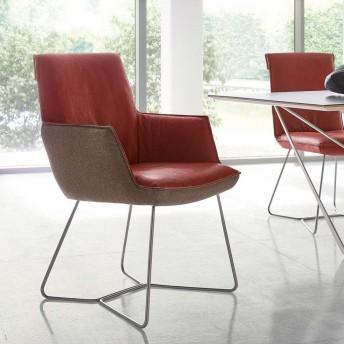 Chaise à accoudoirs SWINGY en cuir ou tissu ou bi matière