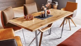 Table à manger rectangulaire GERBOIS 180x90 cm, plateau hêtre, chêne, HPL ou céramique