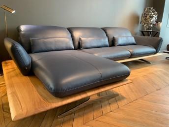 ATEMPTATION canapé d'angle sur plateau banc en bois 5 places en cuir pleine fleur Deluxe 2 Ultra Royal Blue
