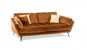 Canapé 2,5 places AM.MELVIN confort souple, velours, tissu ou cuir