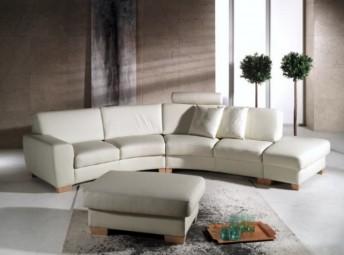 Canapé d'angle en cuir Diva méridienne panoramique