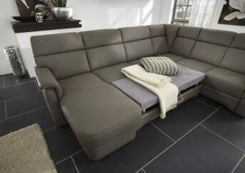 Grand canapé d'angle convertible 6 pl en U cuir ElekTra
