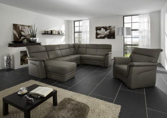 Grand canapé d'angle cuir ElekTra 6 places en U