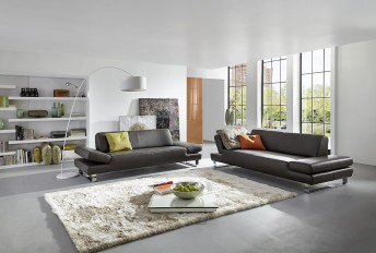 Canapé 2 places design XXL profond LONGRUN cuir ou tissu