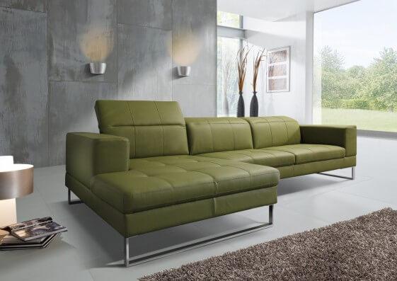 Petit canapé angle cuir SR.Andy 3 places chaise longue cuir