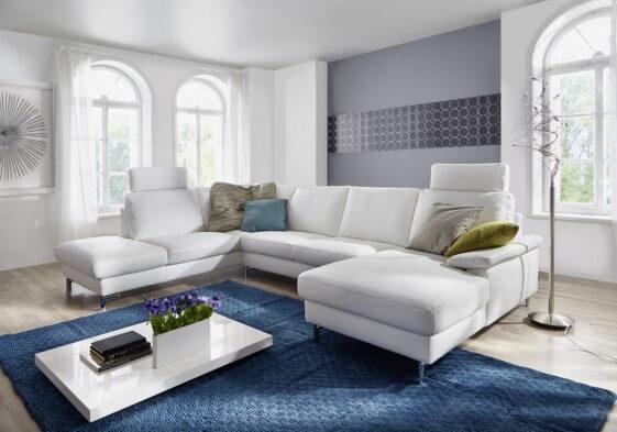 Canapé d'angle en U dossier haut ou bas cuir ou tissu ELIS