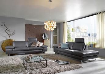Canapé 3 places ICON terminaison Ottomane design cuir ou tissu