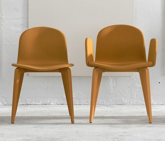 Blaine-R, ensemble fauteuil & chaise en hêtre laqué et tissu