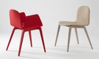 Chaises & Fauteuils par 4, Blaine-R laqués et tapissés