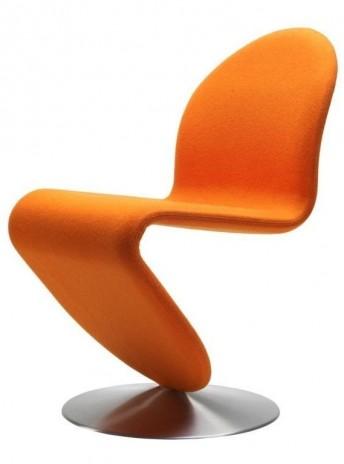 Chaise Panton tissu Kvadrat Tonus, laine orange, Verpan