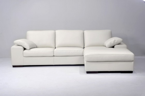 Canapé d'angle convertible avec chaise longue en cuir Hoover