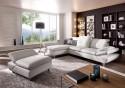 Canapé 3 places LINEFLEX avec très grande chaise longue double accoudoirs cuir ou tissu