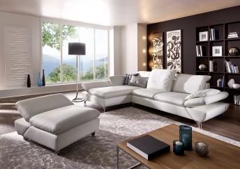 Canapé d'angle LINEflex 3,5 places avec grande chaise longue en cuir ou tissu