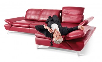 Canapé d'angle LINEflex, 4 places avec très grande chaise longue gauche en cuir ou tissu
