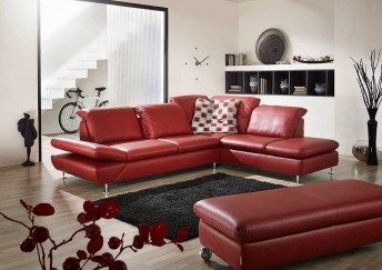 Canapé d'angle LINEflex 4 places avec retour ottomane en cuir ou tissu