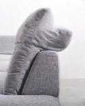 Canapé angle LINEFLEX 6 places en cuir ou tissu réglables en profondeur avec appuis-tête
