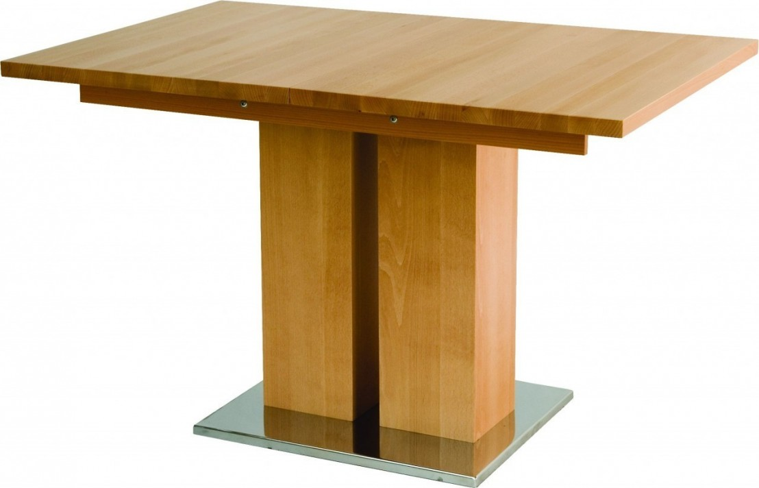 Table avec rallonge md1 bois h tre massif 140 x 80 cm for Table rallonge bois