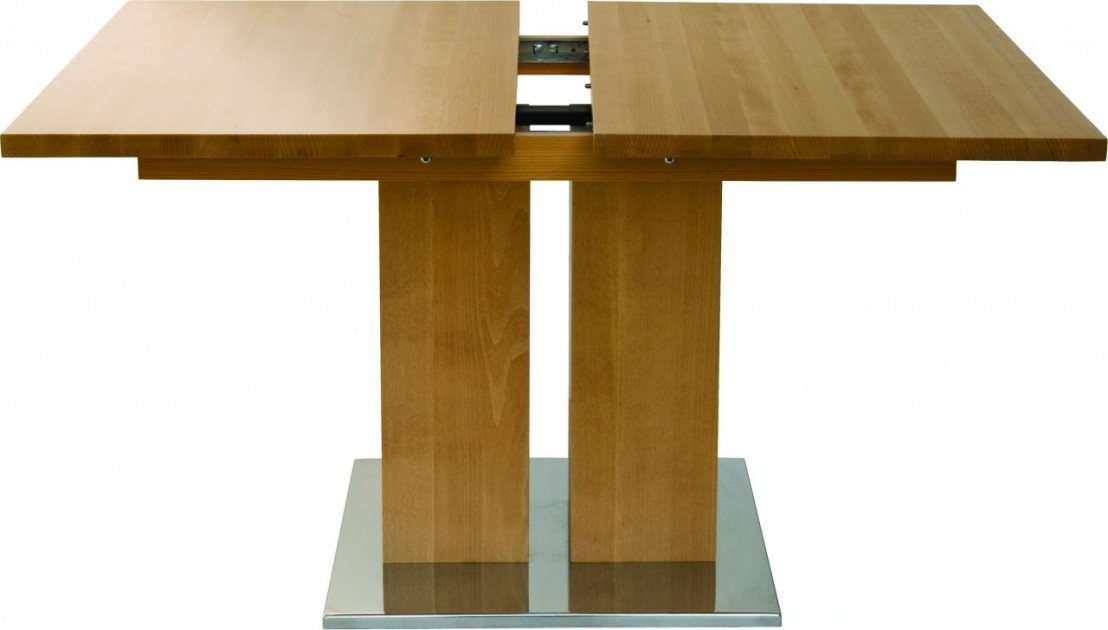 Table contemporain bois massif rallonge md1 160 x 90 cm for Table rallonge bois massif