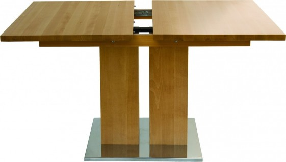 Table Contemporain Bois Massif Rallonge Md1 160 X 90 Cm