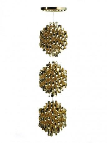 Lampe de plafond Verpan Triple Spirale Dorée SP3