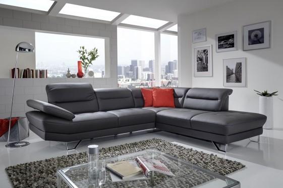 AFFEC.X canapé d'angle cuir ou tissu 5 places design